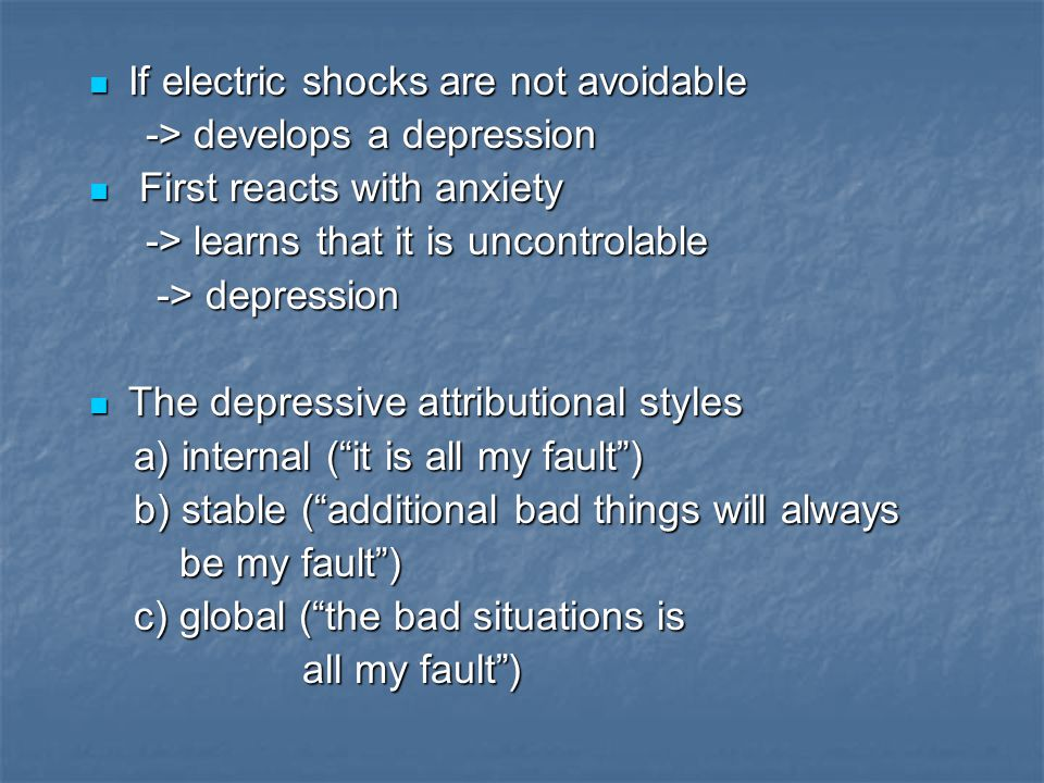 If electric shocks are not avoidable