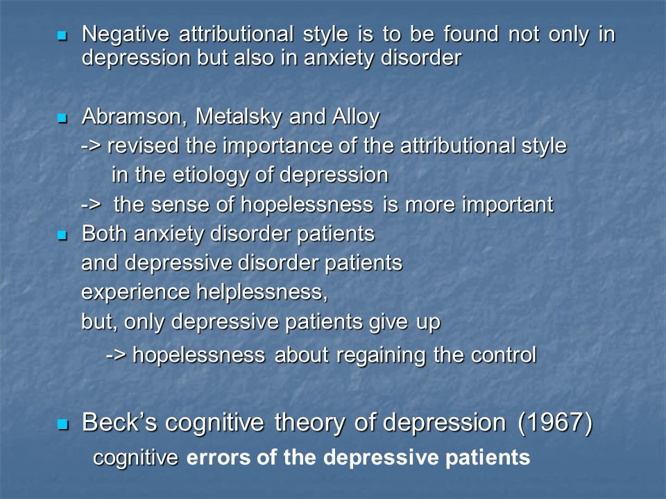 Beck's cognitive theory of depression (1967)