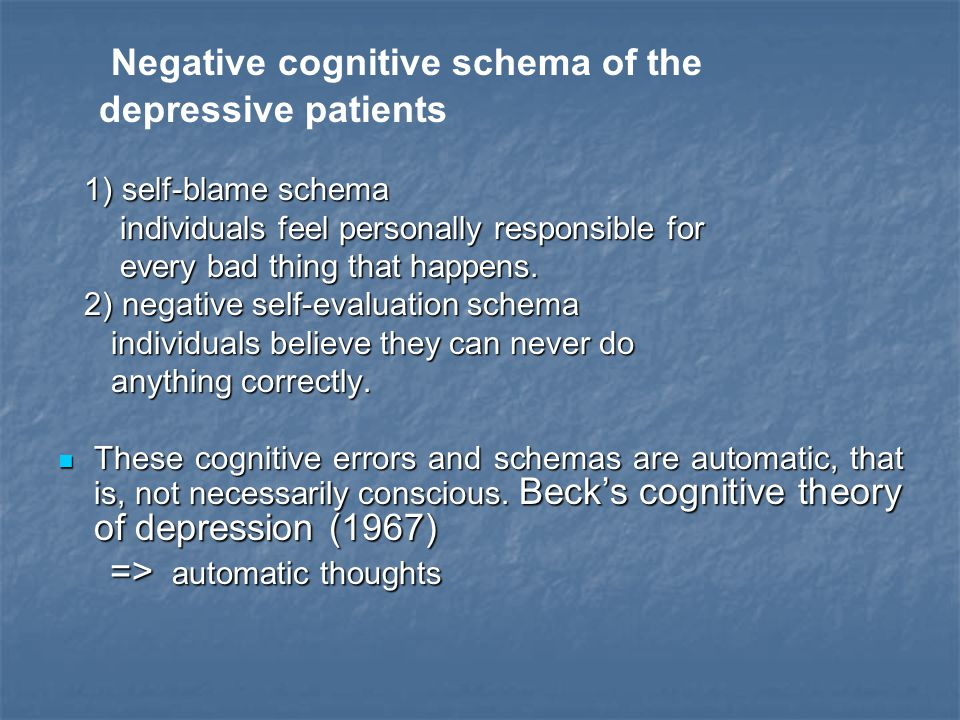 Negative cognitive schema of the