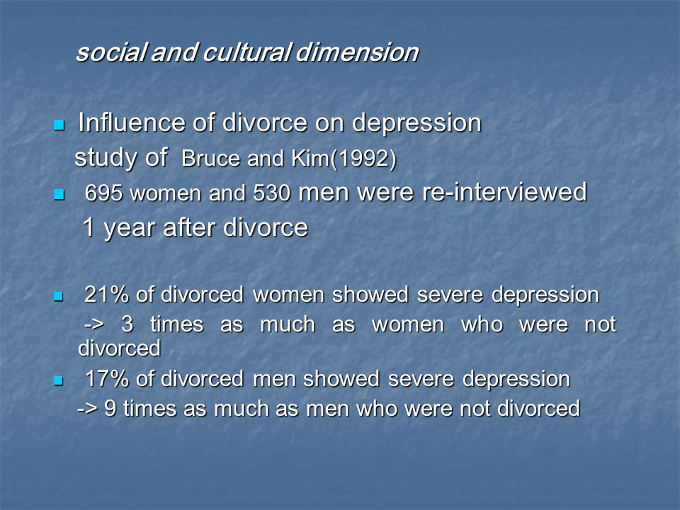 social and cultural dimension Influence of divorce on depression