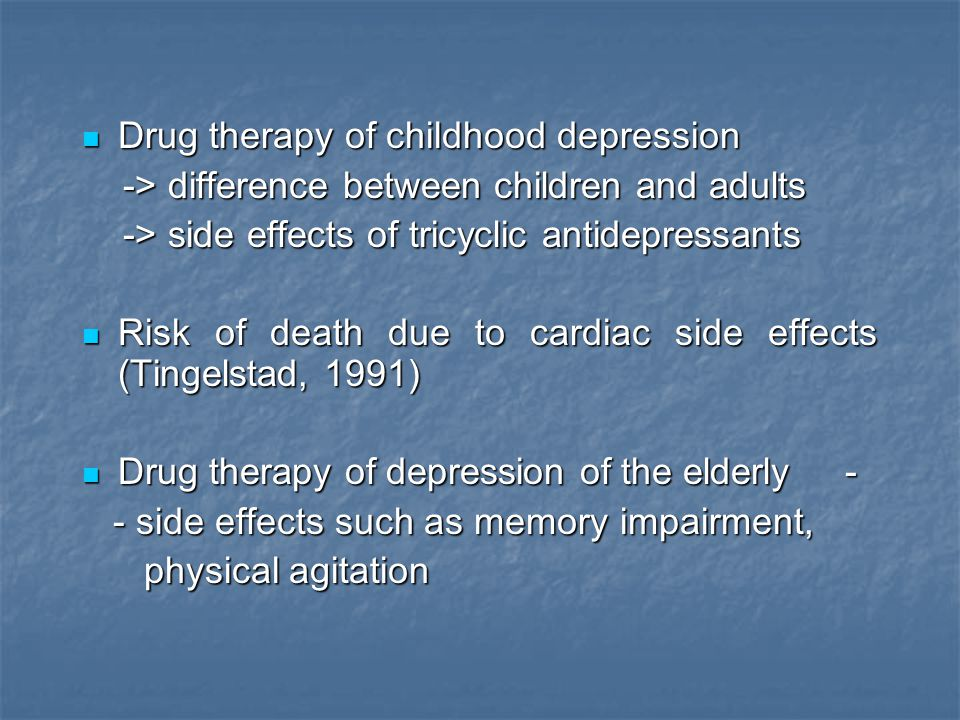 Drug therapy of childhood depression