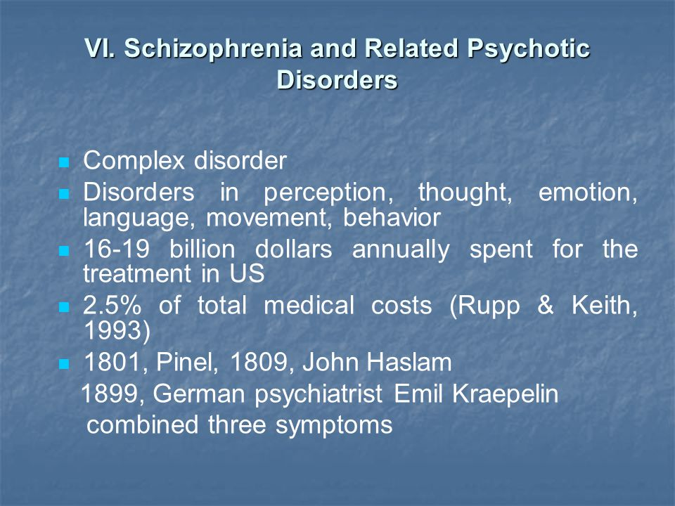 VI. Schizophrenia and Related Psychotic Disorders