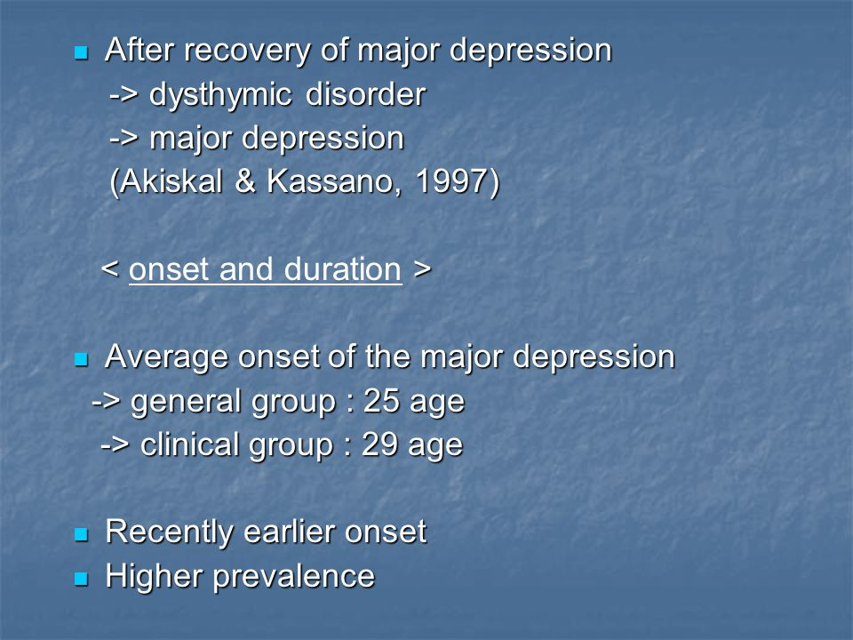 After recovery of major depression