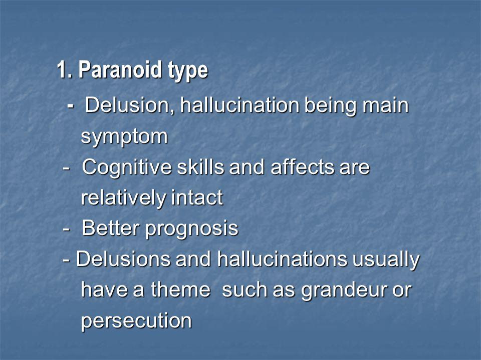 - Delusion, hallucination being main