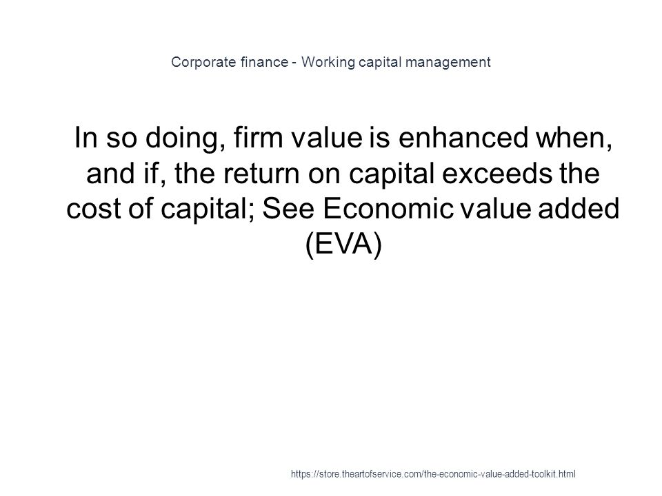 Corporate finance - Working capital management