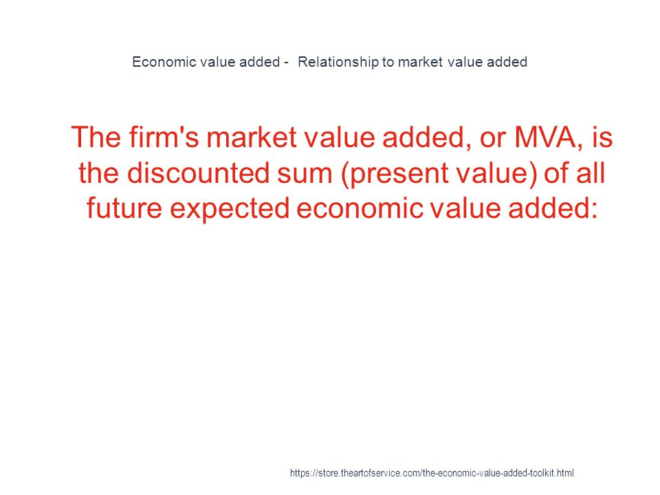 Economic value added - Relationship to market value added
