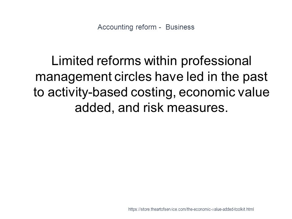 Accounting reform - Business