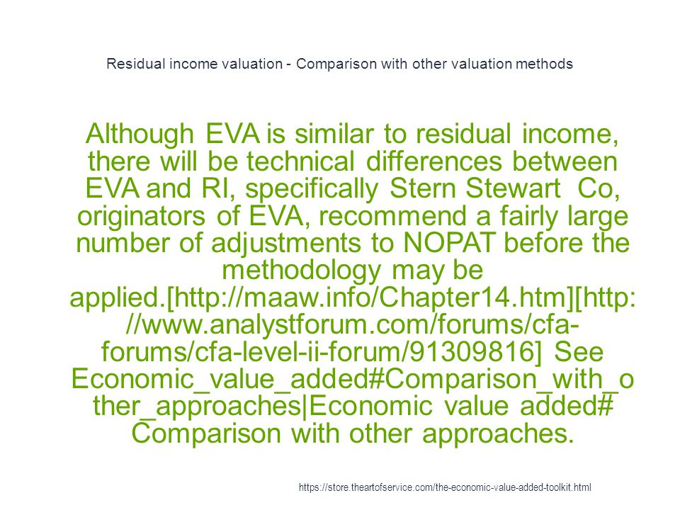 Residual income valuation - Comparison with other valuation methods