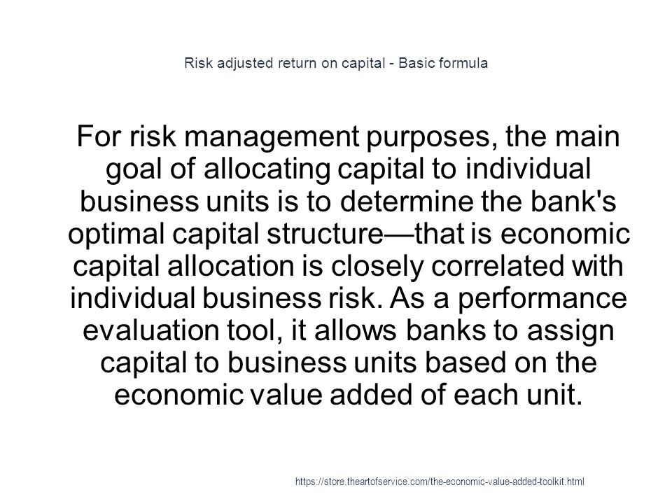 Risk adjusted return on capital - Basic formula