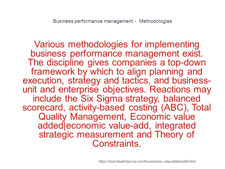 Business performance management - Methodologies