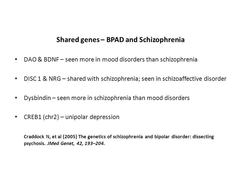 Shared genes – BPAD and Schizophrenia