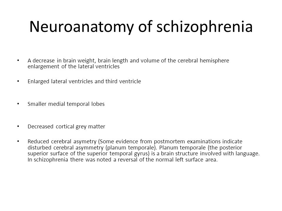 Neuroanatomy of schizophrenia