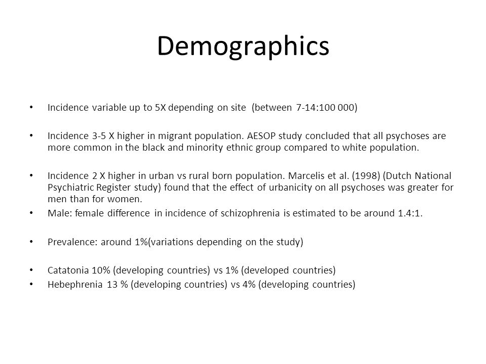 Demographics Incidence variable up to 5X depending on site (between 7-14:100 000)