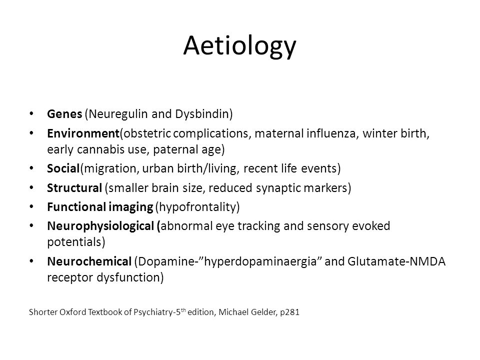 Aetiology Genes (Neuregulin and Dysbindin)