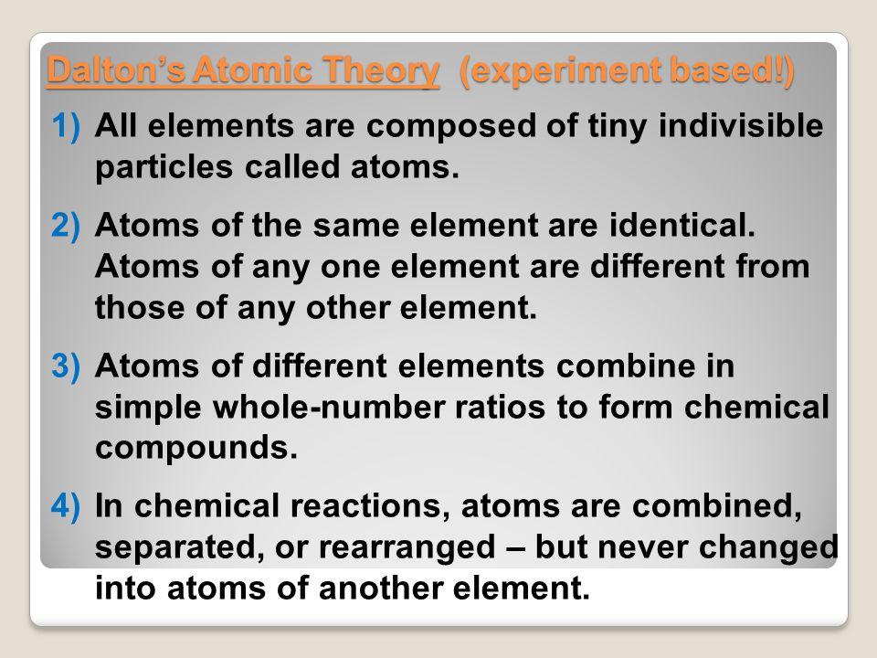 Dalton's Atomic Theory (experiment based!)