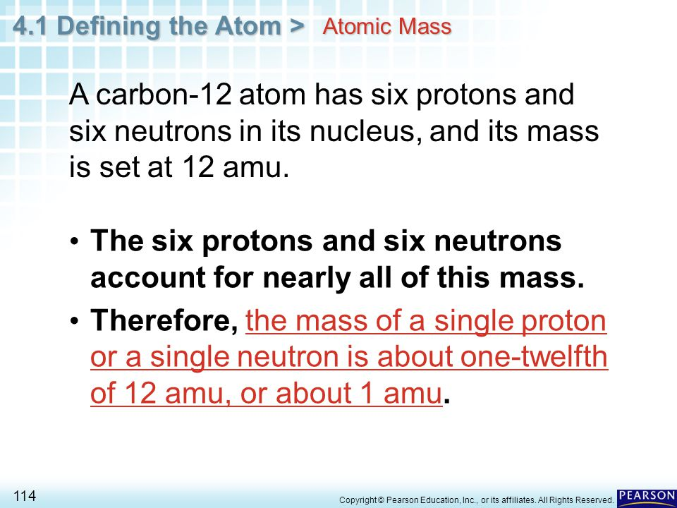The six protons and six neutrons account for nearly all of this mass.