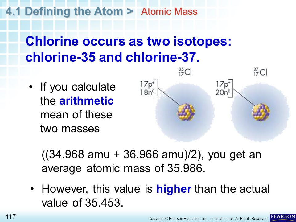 Chlorine occurs as two isotopes: chlorine-35 and chlorine-37.