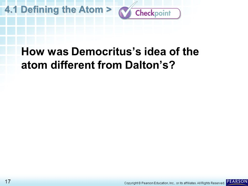 How was Democritus's idea of the atom different from Dalton's