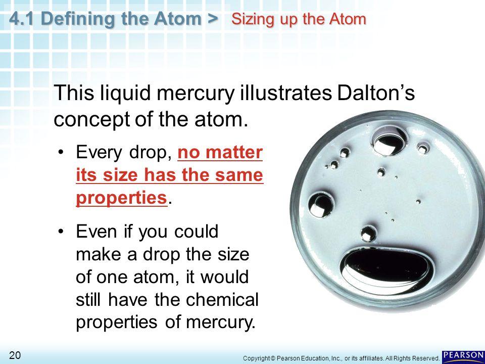 This liquid mercury illustrates Dalton's concept of the atom.