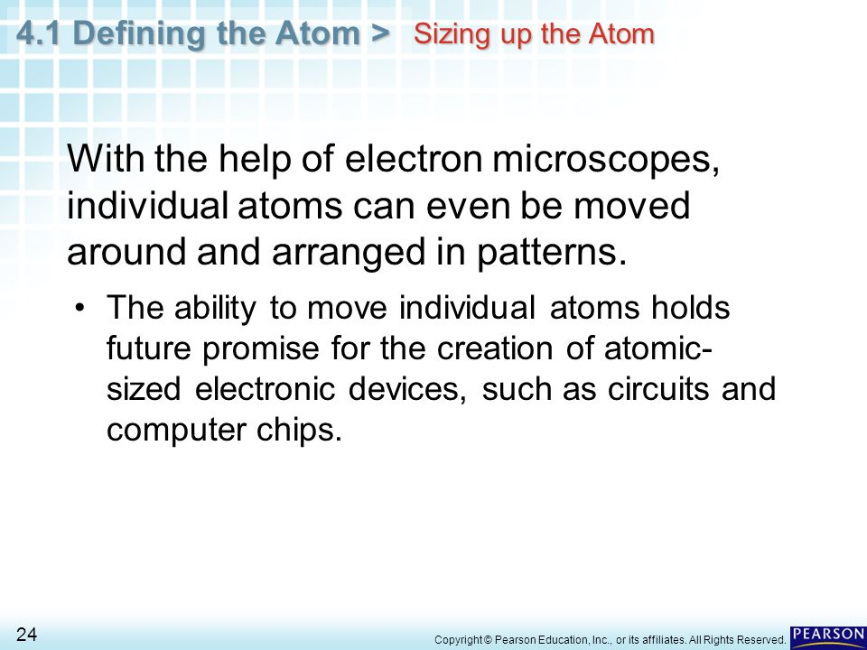 Sizing up the Atom With the help of electron microscopes, individual atoms can even be moved around and arranged in patterns.