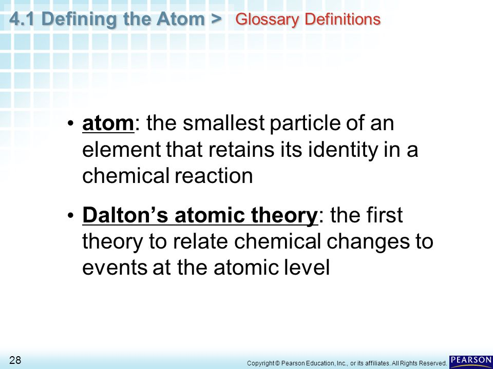 Glossary Definitions atom: the smallest particle of an element that retains its identity in a chemical reaction.