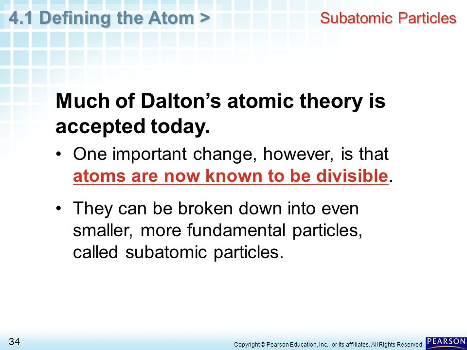 Much of Dalton's atomic theory is accepted today.