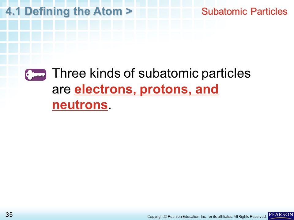 Subatomic Particles Three kinds of subatomic particles are electrons, protons, and neutrons.