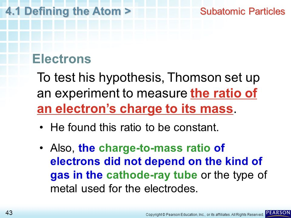 Subatomic Particles Electrons. To test his hypothesis, Thomson set up an experiment to measure the ratio of an electron's charge to its mass.
