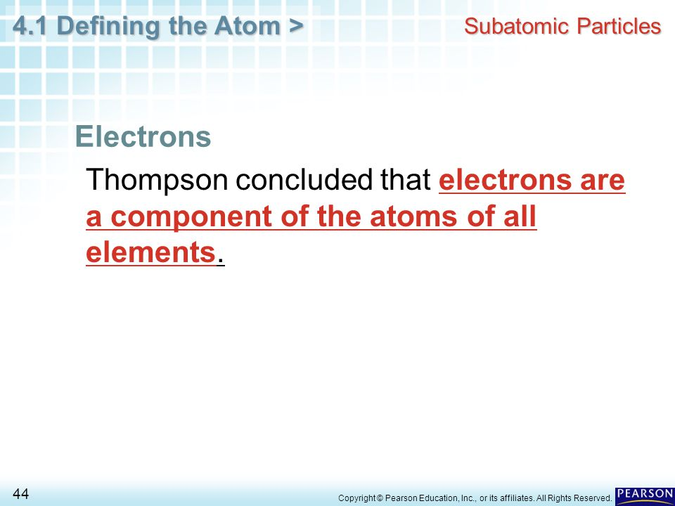 Subatomic Particles Electrons. Thompson concluded that electrons are a component of the atoms of all elements.