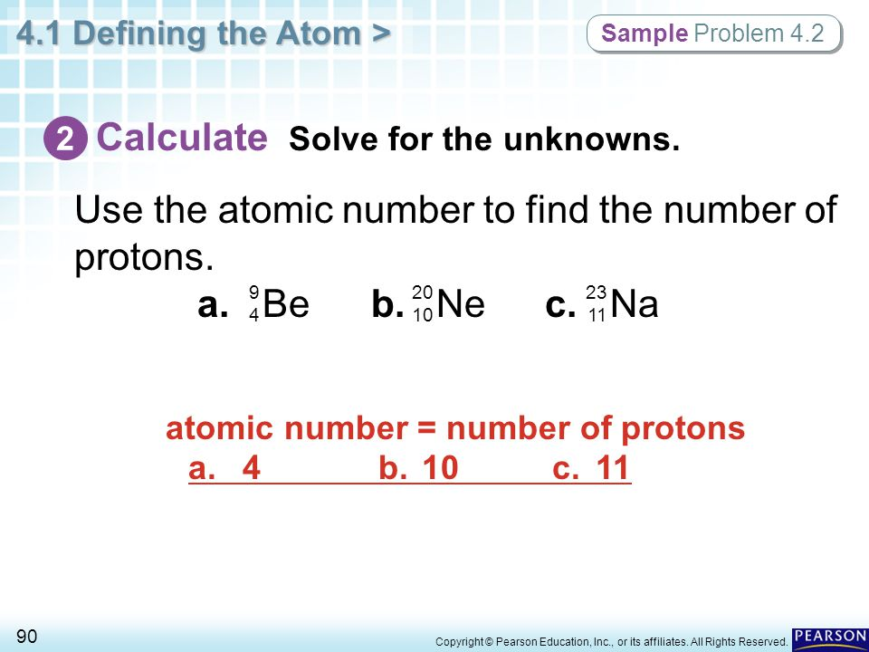 atomic number = number of protons