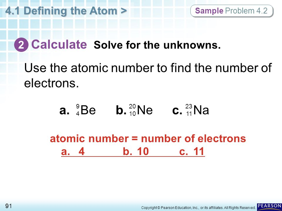 atomic number = number of electrons