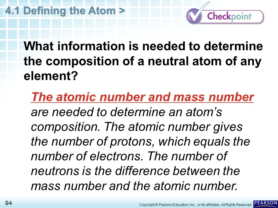 What information is needed to determine the composition of a neutral atom of any element