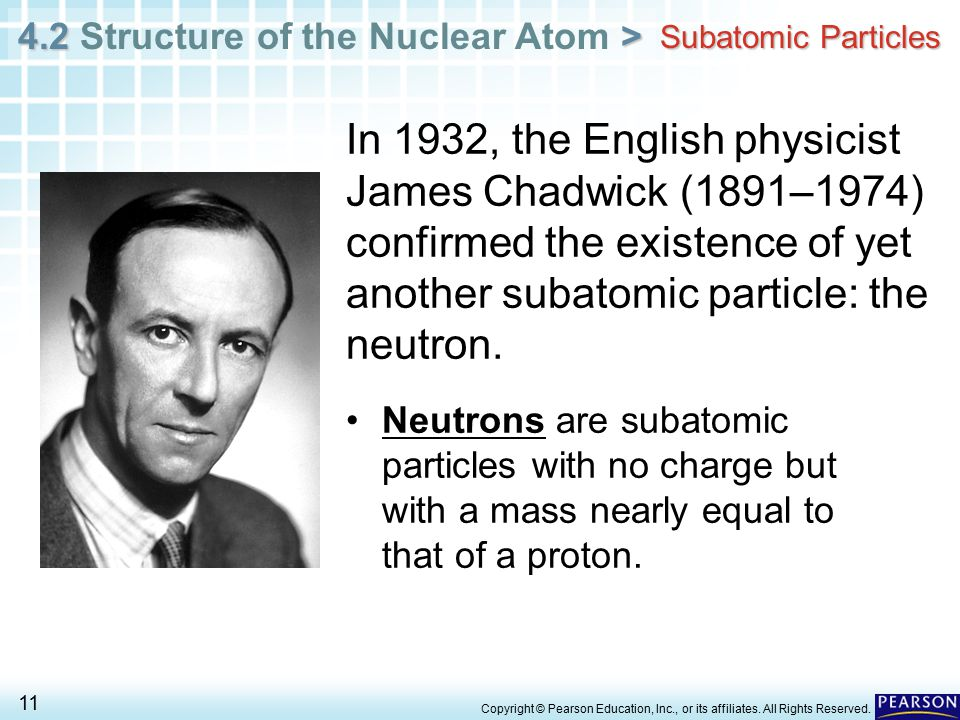 Subatomic Particles In 1932, the English physicist James Chadwick (1891–1974) confirmed the existence of yet another subatomic particle: the neutron.