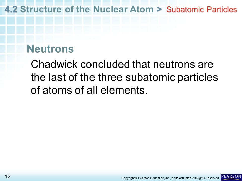 Subatomic Particles Neutrons. Chadwick concluded that neutrons are the last of the three subatomic particles of atoms of all elements.