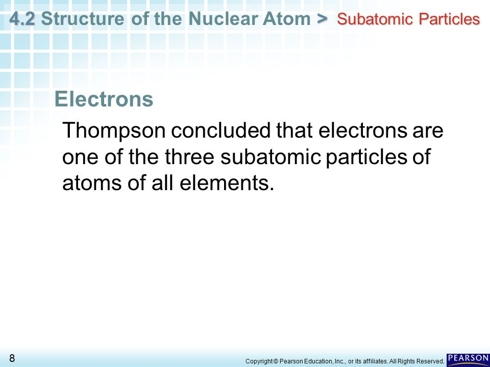 Subatomic Particles Electrons. Thompson concluded that electrons are one of the three subatomic particles of atoms of all elements.