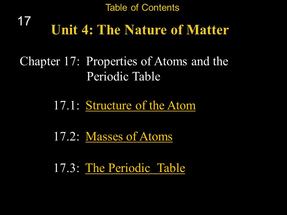 Unit 4: The Nature of Matter