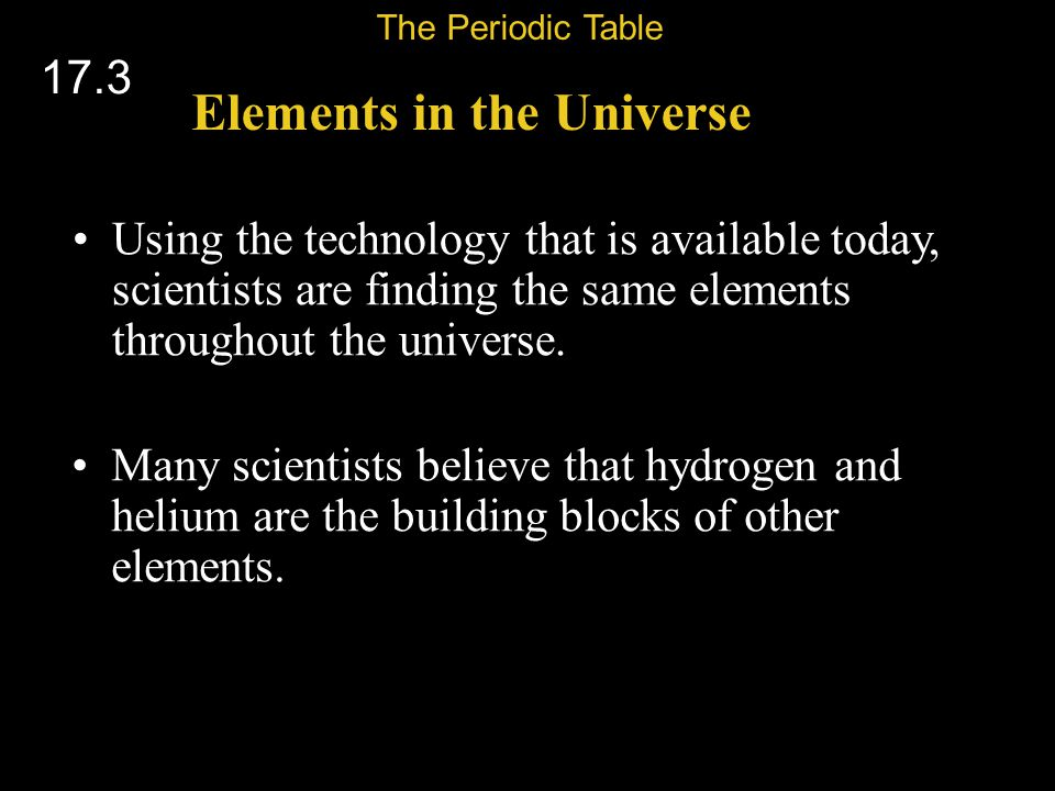 Elements in the Universe