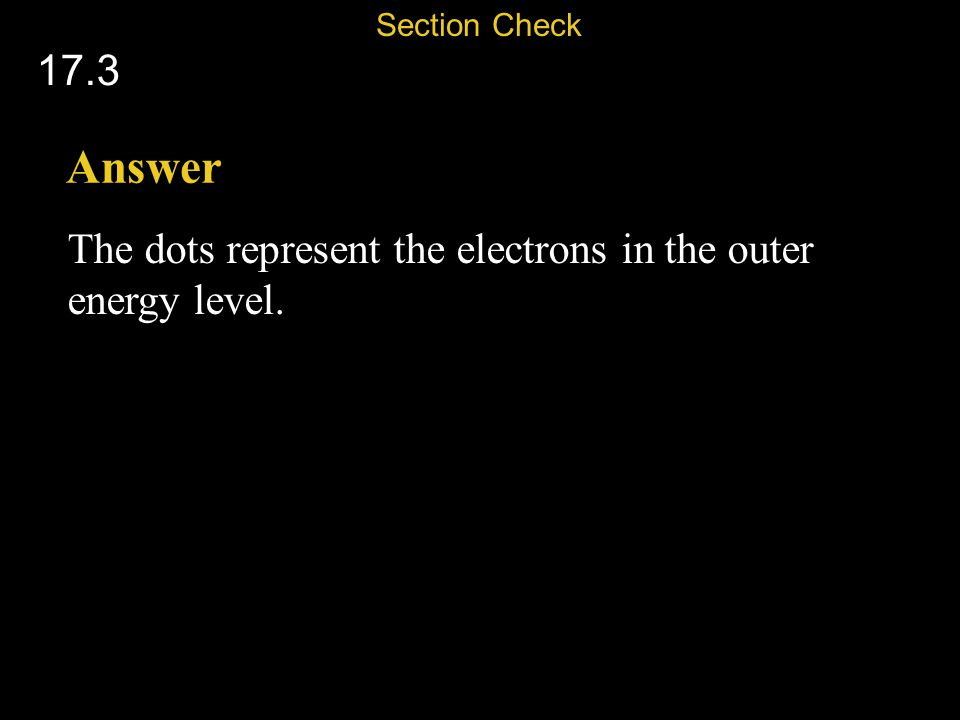 Section Check 17.3 Answer The dots represent the electrons in the outer energy level.