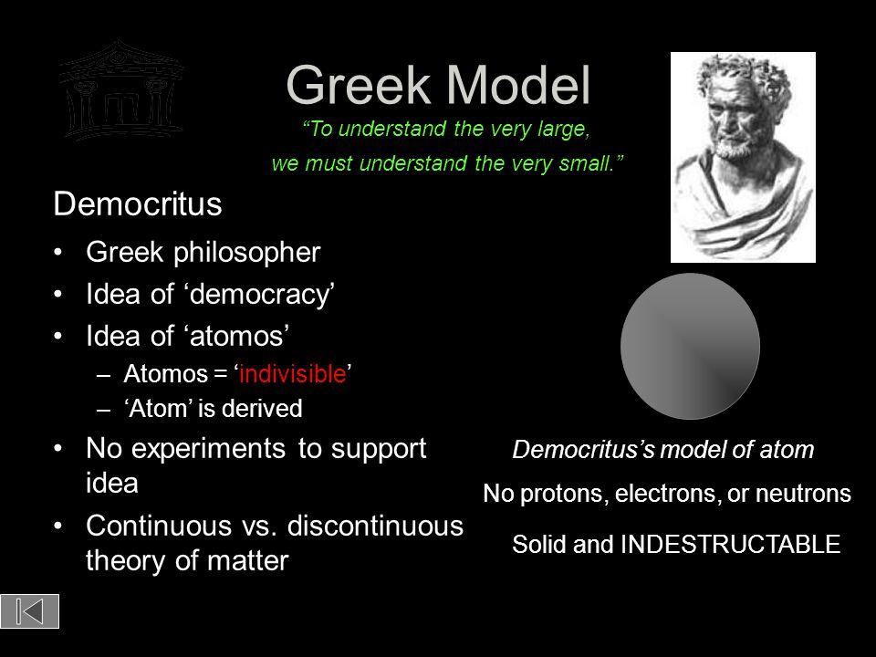 Greek Model Democritus Greek philosopher Idea of 'democracy'