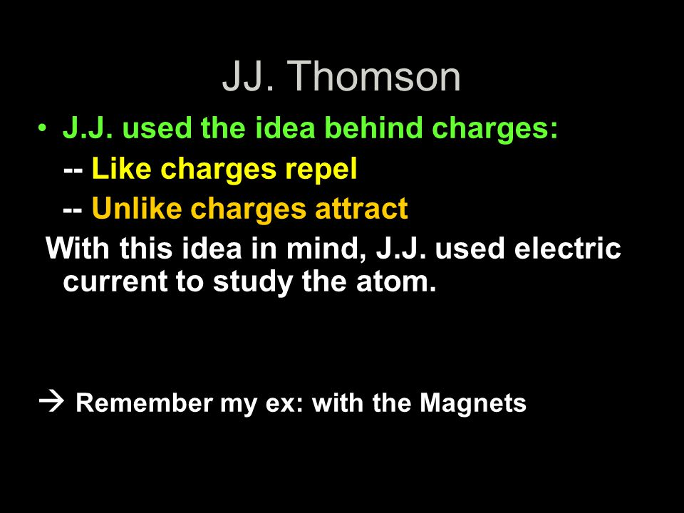 JJ. Thomson J.J. used the idea behind charges: -- Like charges repel