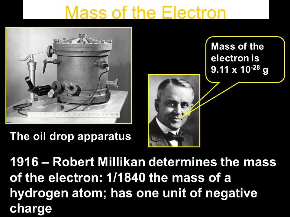 Mass of the Electron Mass of the electron is. 9.11 x 10-28 g. The oil drop apparatus.