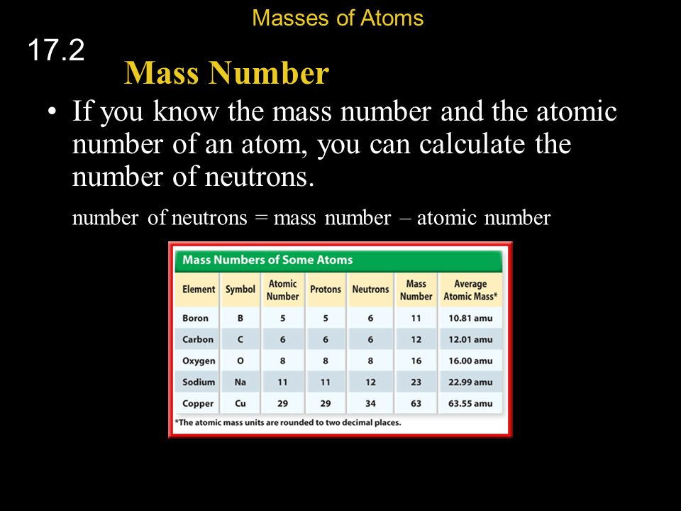Masses of Atoms 17.2. Mass Number. If you know the mass number and the atomic number of an atom, you can calculate the number of neutrons.