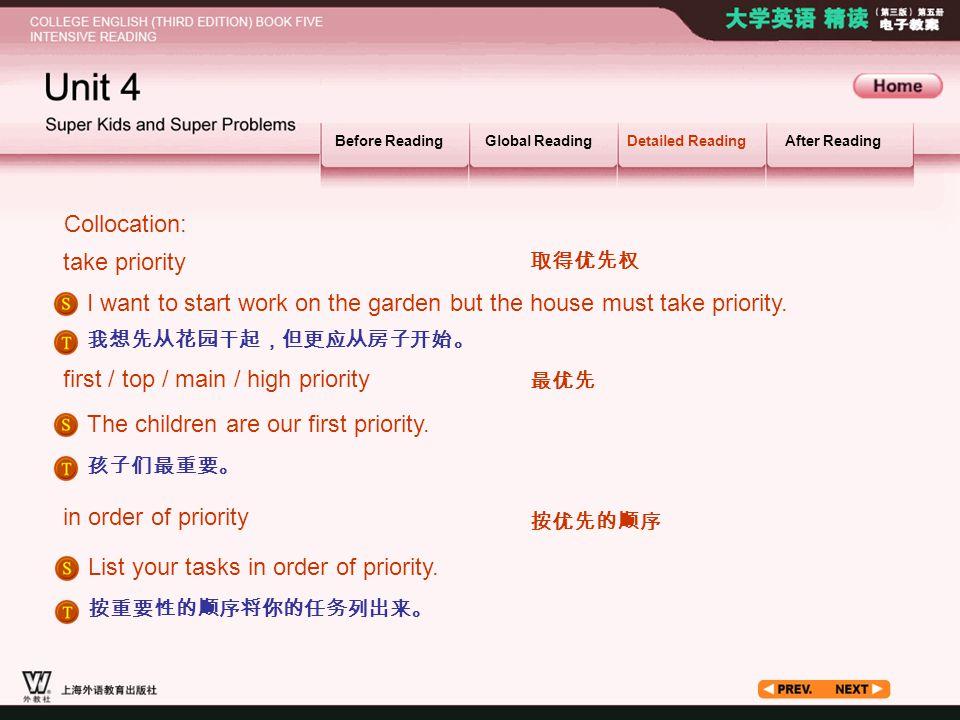 Article_ W_ priority2 Collocation: take priority