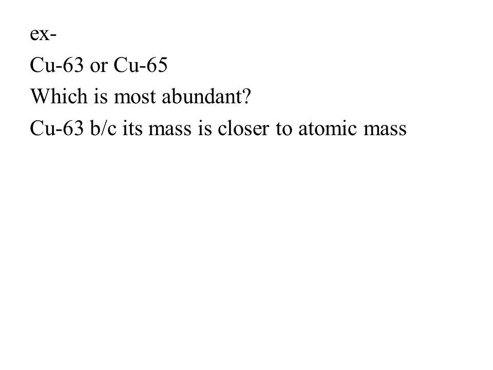ex- Cu-63 or Cu-65 Which is most abundant