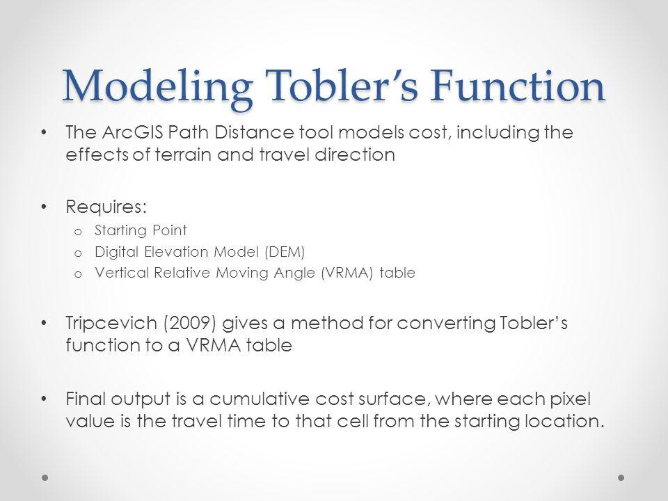 Modeling Tobler's Function
