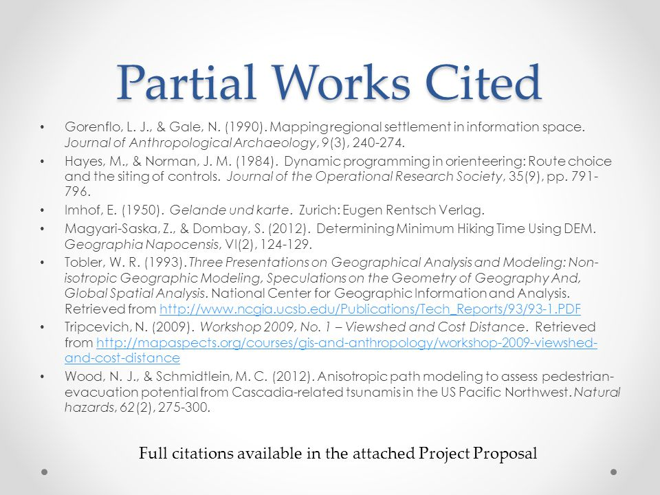 Partial Works Cited