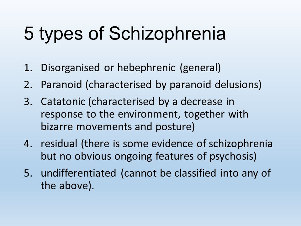5 types of Schizophrenia