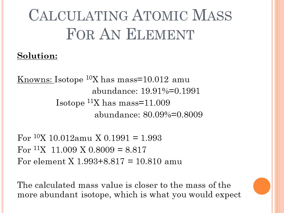Calculating Atomic Mass For An Element