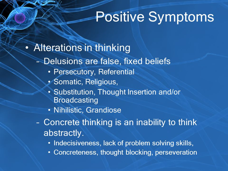 Positive Symptoms Alterations in thinking