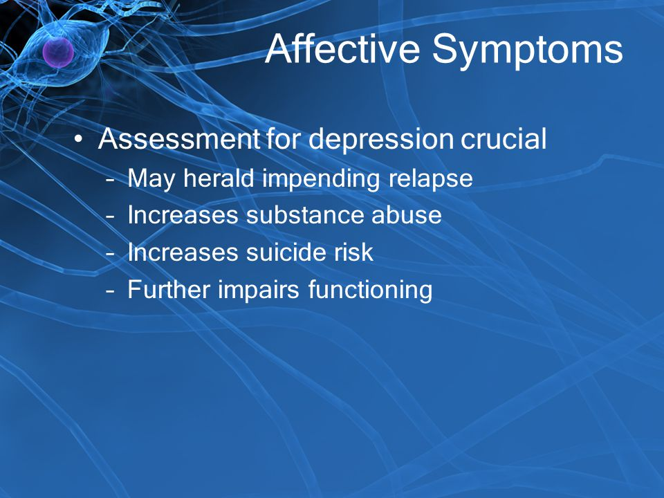 Affective Symptoms Assessment for depression crucial
